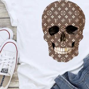LV Inspired Skull Graphic Tee Shirt