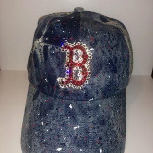 Boston Red Sox Baseball Red Hat with Swarovski Crystals