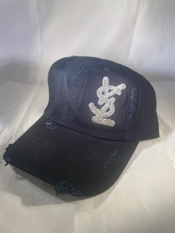 Y*S*L Inspired Black Distressed Baseball Hat