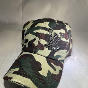 LV Inspired Camo Distressed Baseball Hat