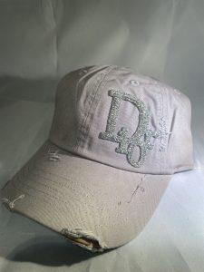 Distressed Gray Dior Inspired Baseball Hat