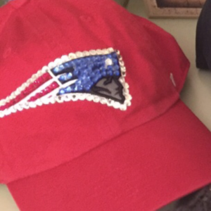 New England Patriots Red Baseball Hat. Embellished with Swarovski Crystals