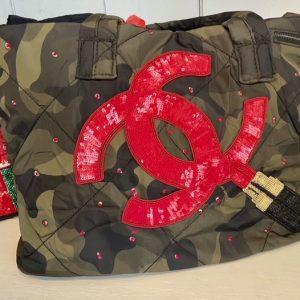 CC Inspired lipstick/camo weekender bag.