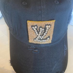 Black hat, LV Inspired distressed baseball hat