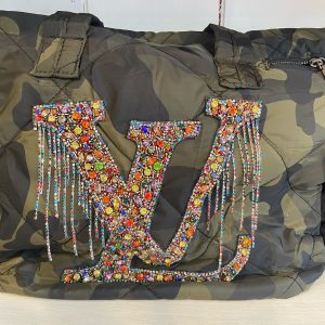 LV Multi colored beaded Inspired Camo weekender bag.