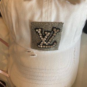 White hat LV Inspired distressed baseball hat