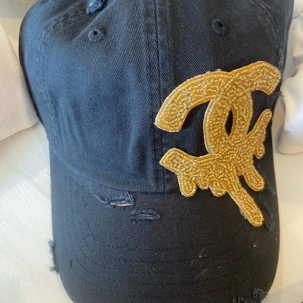 White hat Dripping CC Inspired distressed baseball hat