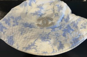 Ti Dye Blue/White -Silver CC inspired Bucket Hat. One size fits most