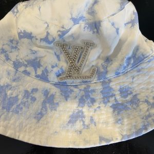 Ti Dye Blue/White -Silver LV inspired Bucket Hat. One size fits most