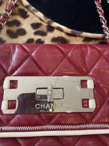 Maroon /Cream Trim Authentic Chanel Shoulder Bag