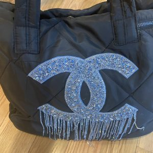 CC designer Inspired weekender bag. Black Nylon, with Blue CC beaded dripping rhinestones