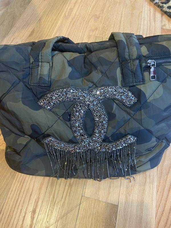 CC Gun Metal colored beaded Inspired Camo weekender bag.