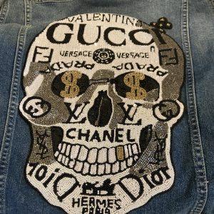 Designer Inspired Beaded Logo Skull Patch/Denim Jacket