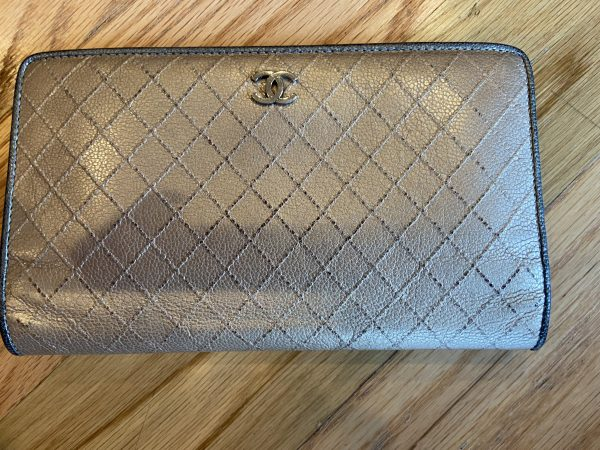 Channel Gold Quilted Wallet