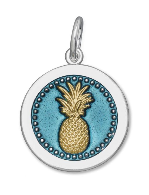 27mm Medium Pineapple Gold Vermeil Teal